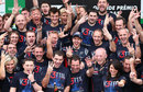 Sebastian Vettel celebrates his third world title with the Red Bull team