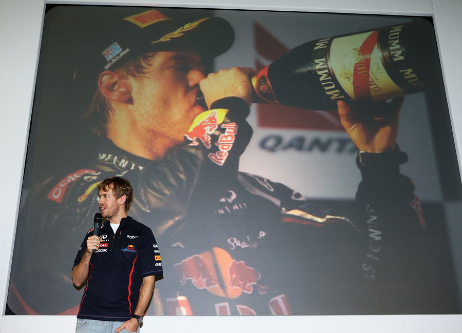 Sebastian Vettel addresses the Red Bull team