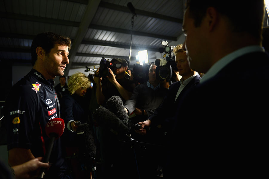 Mark Webber faces the media at Red Bull's headquarters