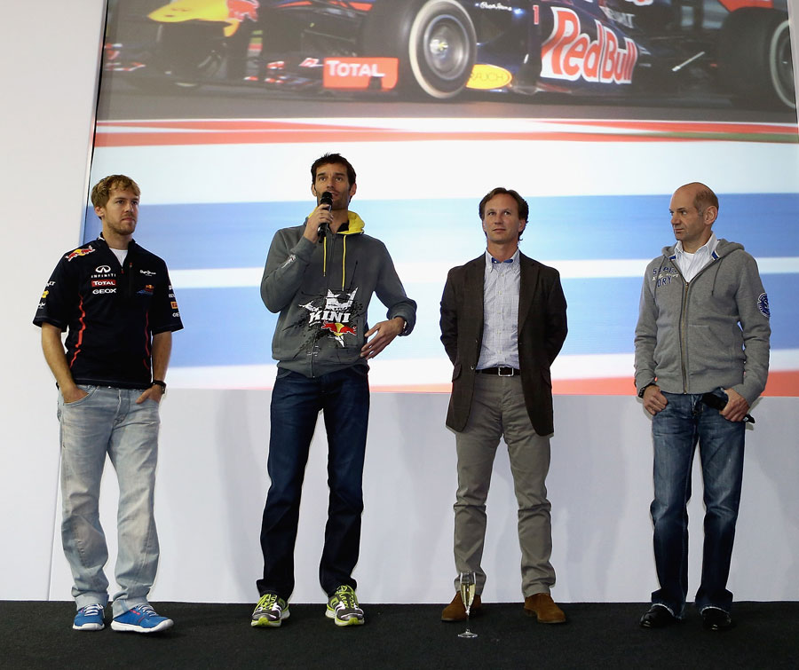 Sebastian Vettel, Mark Webber, Christian Horner and Adrian Newey at Red Bull's headquarters