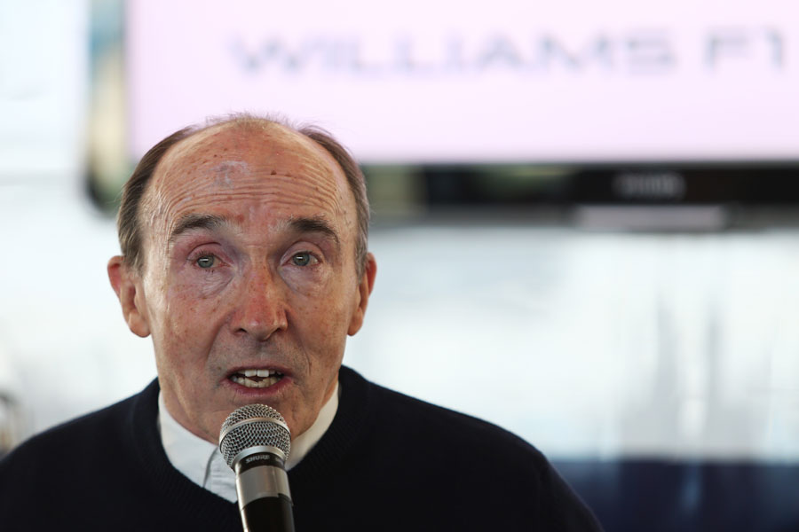 Sir Frank Williams talks at a Williams media and partners day