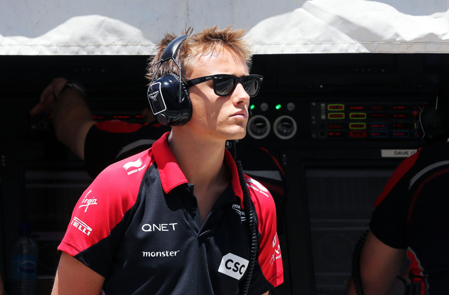 Max Chilton in the pit lane