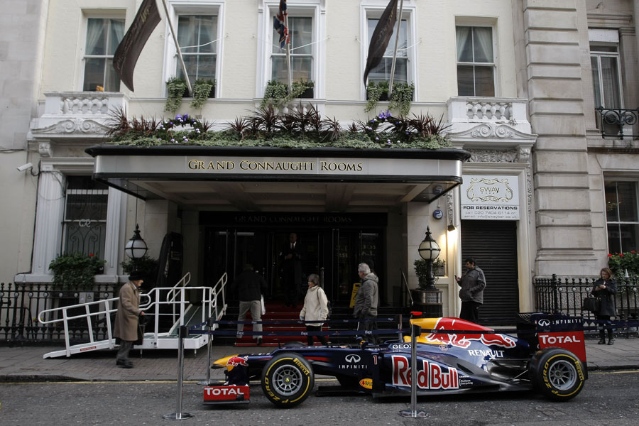 A Red Bull RB8 parked outside the Grand Connaught Rooms at the BRDC Awards
