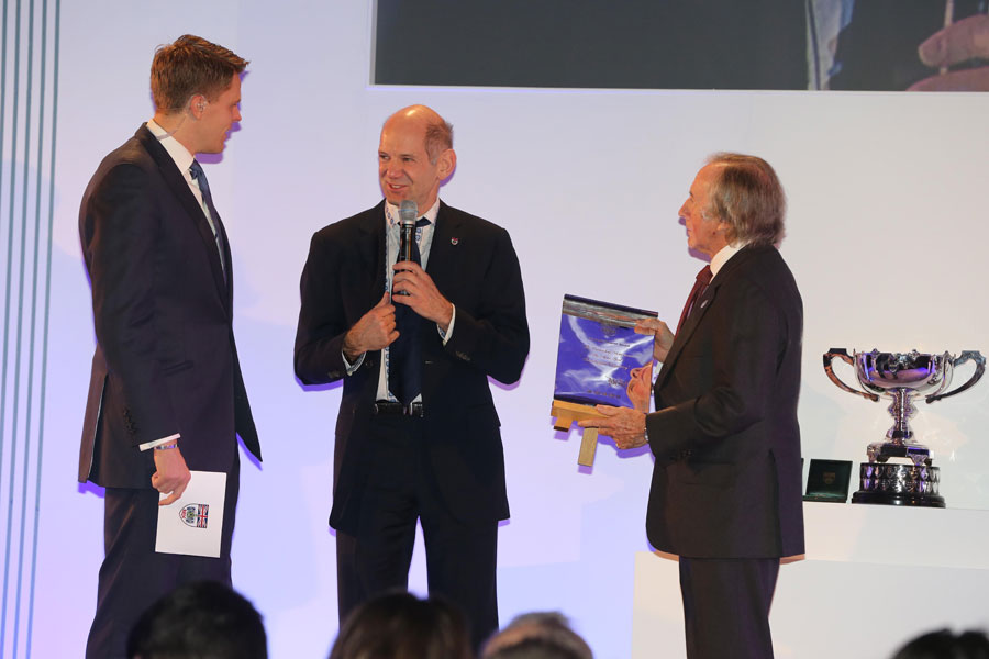 Adrian Newey receives the Sir Jackie Stewart Award at the BRDC Awards
