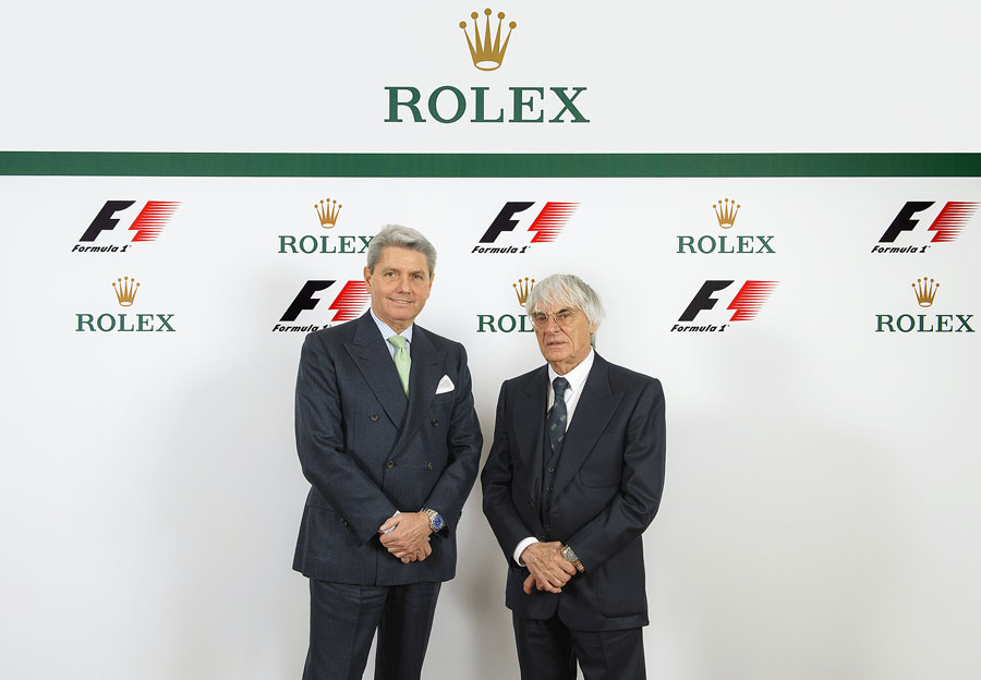 Rolex CEO Gian Riccardo Marini and Bernie Ecclestone at the announcement of Rolex as the official Formula One timekeeper
