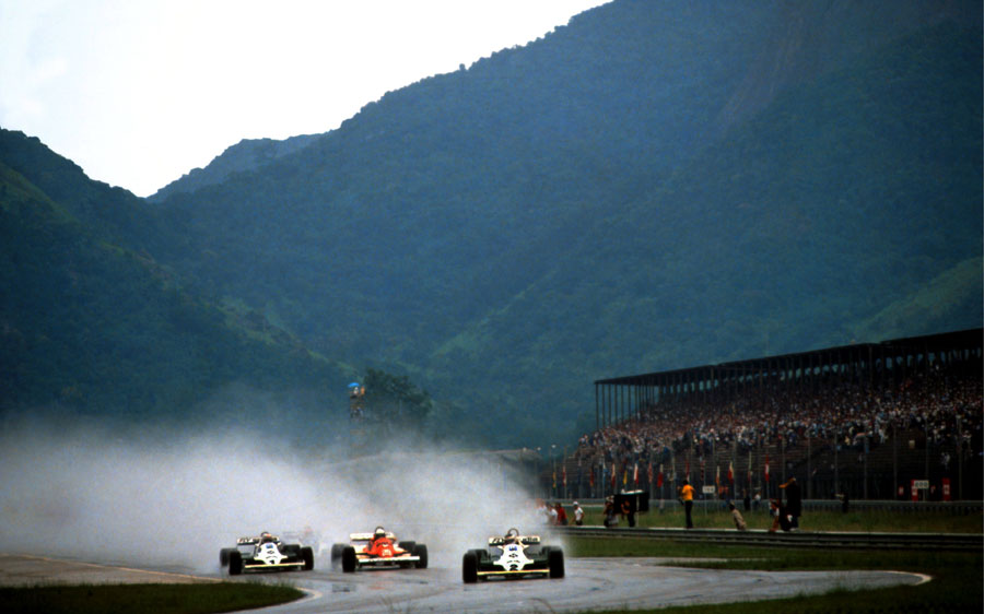 Carlos Reutemann leads Riccardo Patrese and Alan Jones