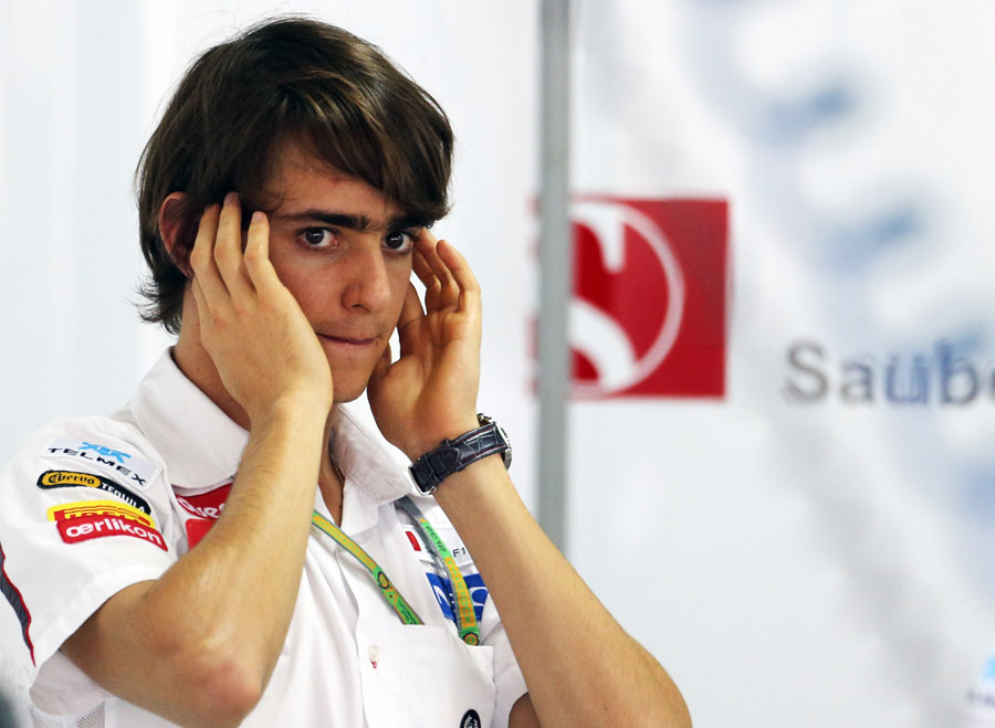 Esteban Gutierrez at the back of the Sauber garage