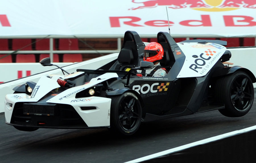 Michael Schumacher gets air in a KTM Crossbow at the Race of Champions