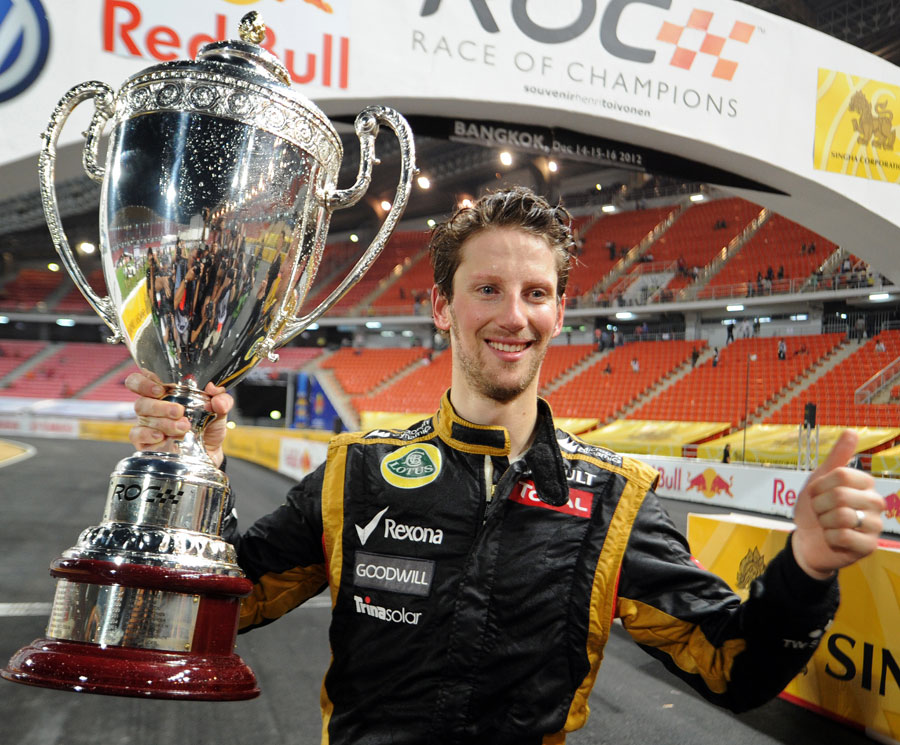 Romain Grosjean celebrates after winning the Champion of Champions event at the Race of Champions