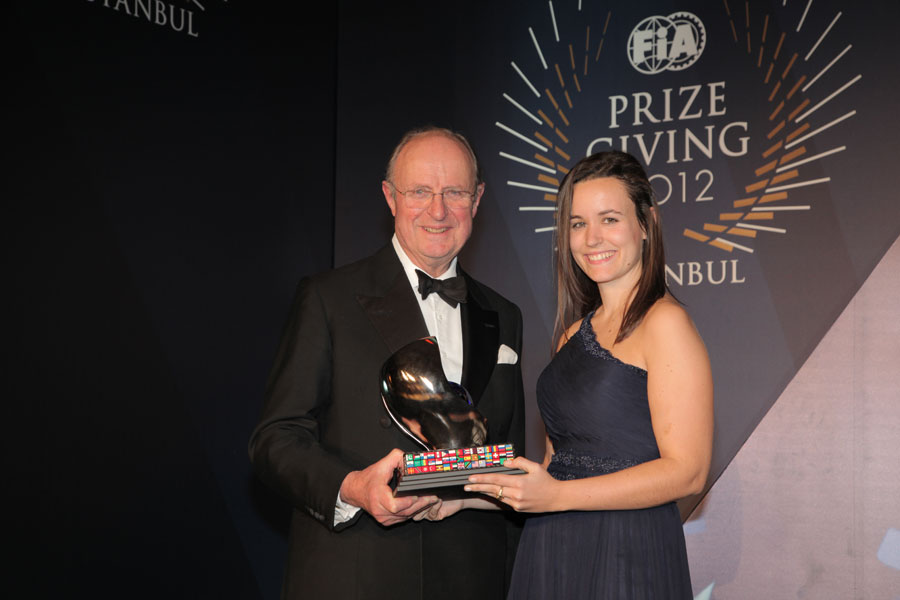 Silvia Bellot is named the winner of the Outstanding Official Award at the FIA prize-giving gala