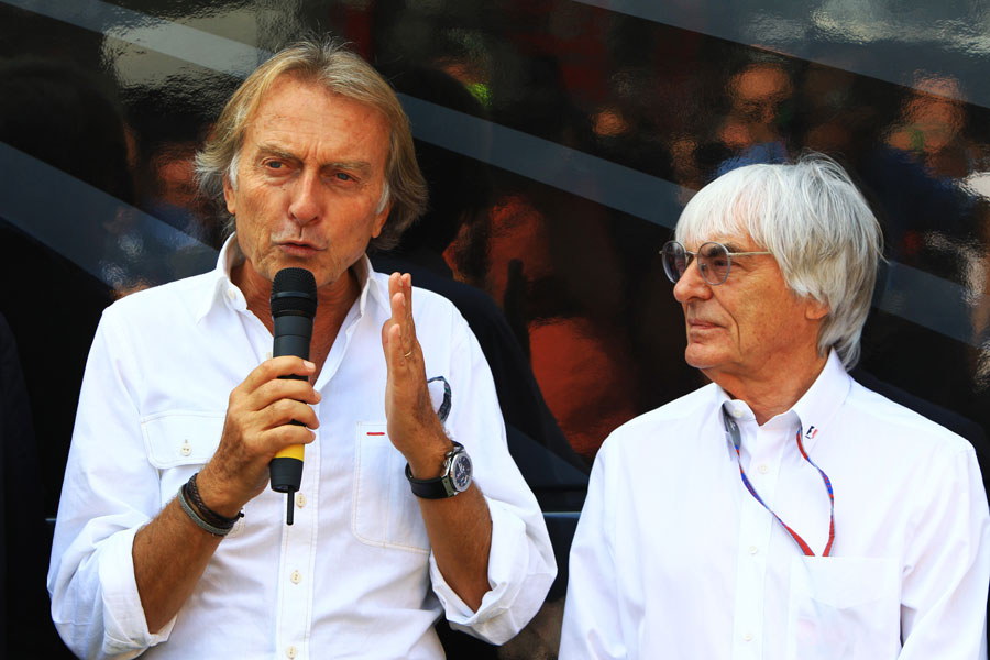 Luca di Montezemolo and Bernie Ecclestone in the Monza paddock