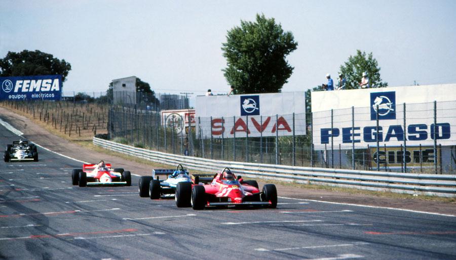Gilles Villeneuve leads Jacques Laffite and John Watson