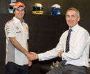 Sergio Perez with Martin Whitmarsh on his first day at McLaren