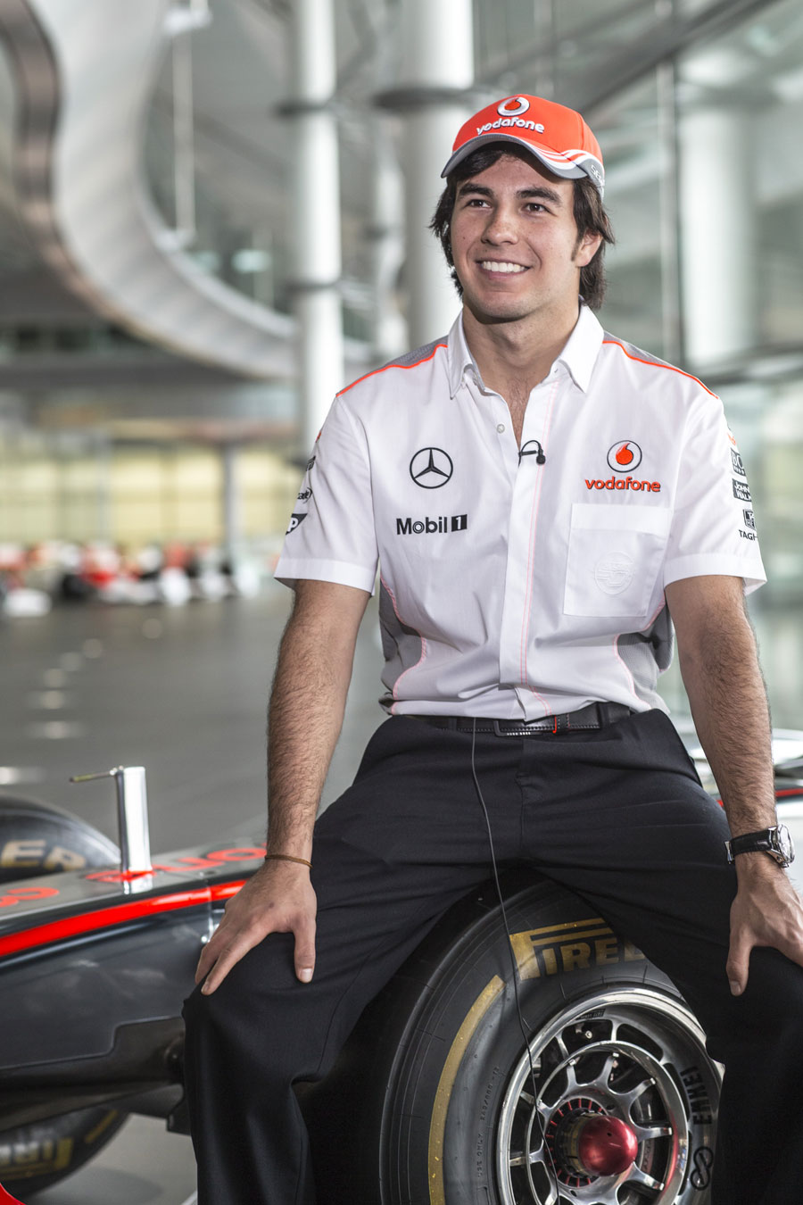 Sergio Perez faces the press on his first day at McLaren