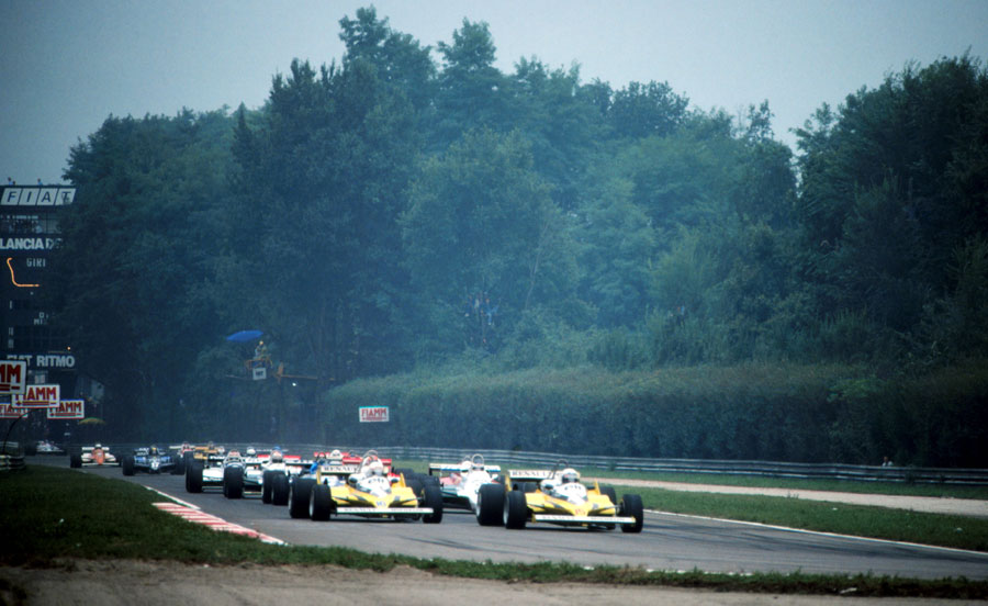 Alain Prost leads away from Rene Arnoux at the start of the race