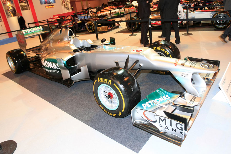 The Mercedes W03 on display at the Autosport show