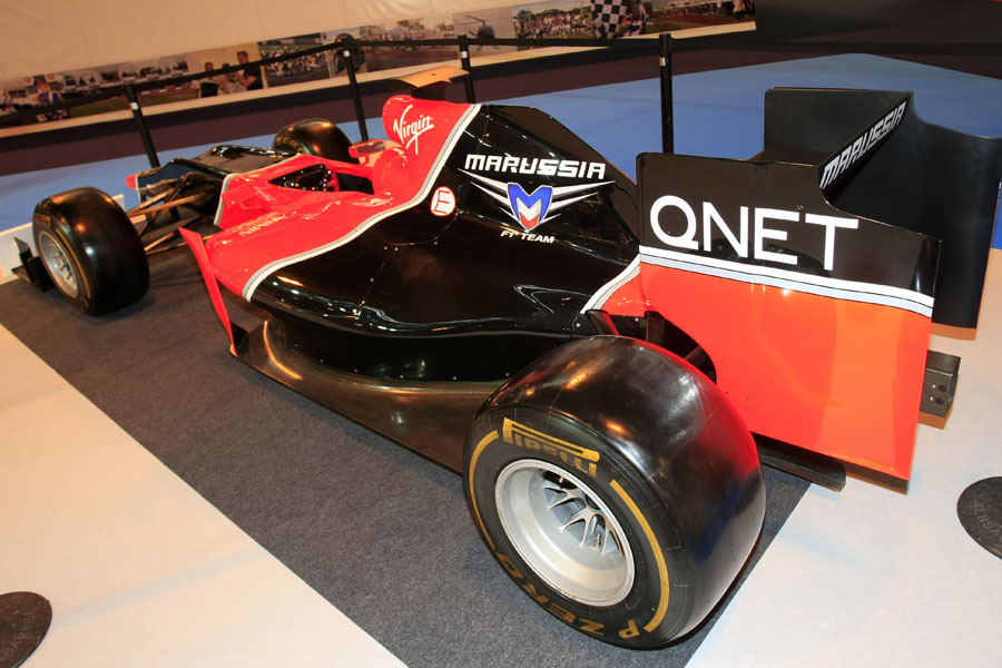 The Marussia MR01 on display at the Autosport show