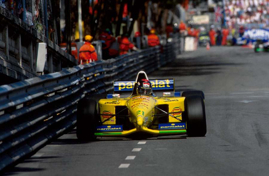 Pedro Diniz in action in his Forti