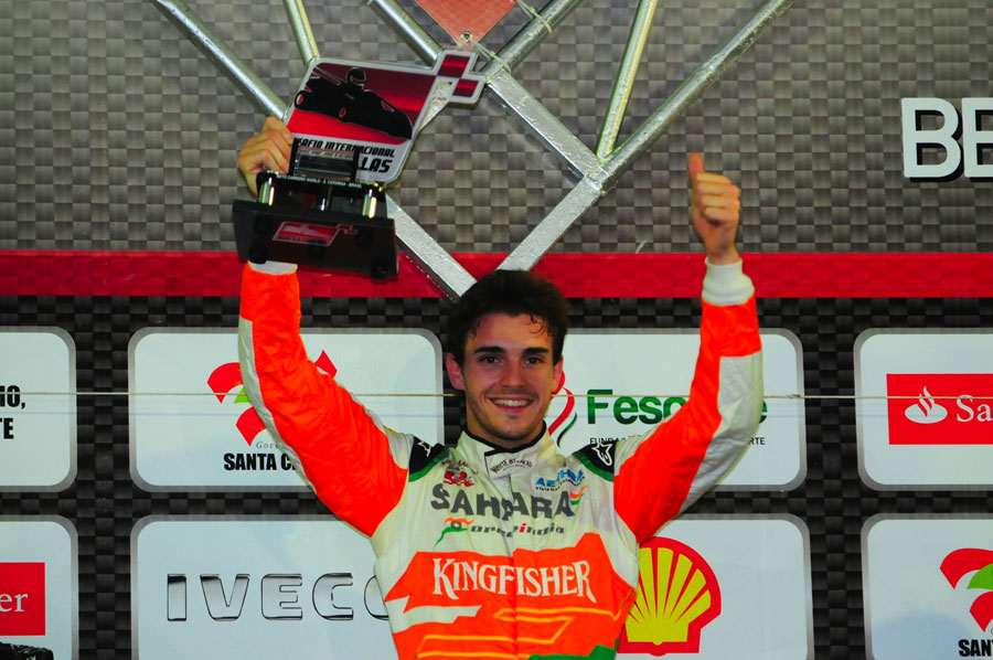 Jules Bianchi celebrates his victory at Felipe Massa's karting challenge
