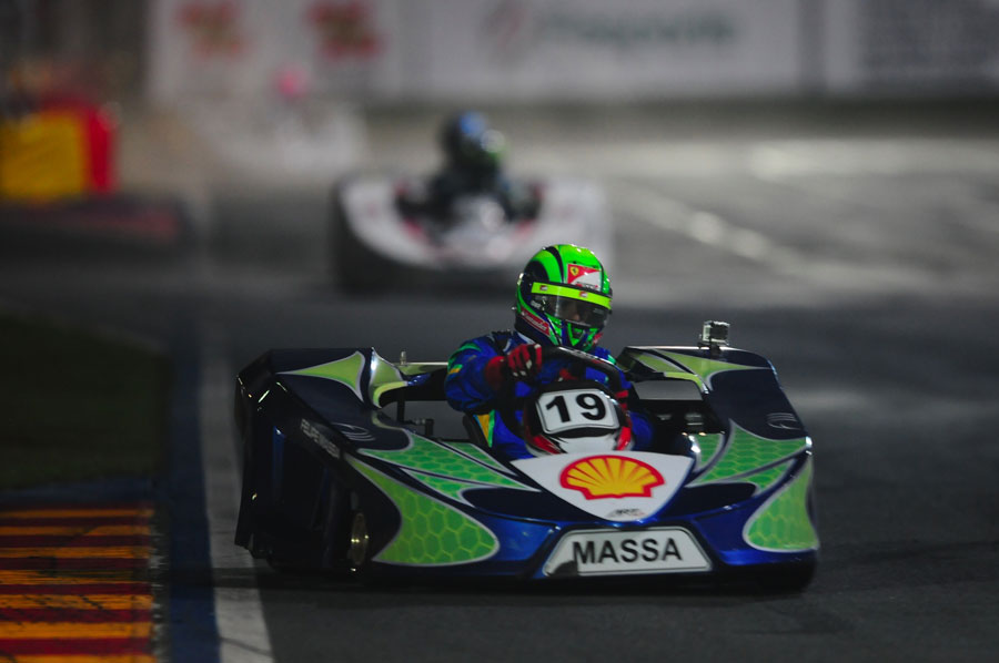 Felipe Massa aims for an apex during his karting challenge