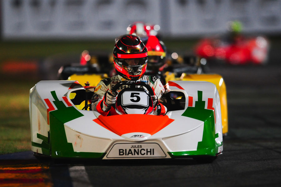 Jules Bianchi on track during Felipe Massa's karting challenge
