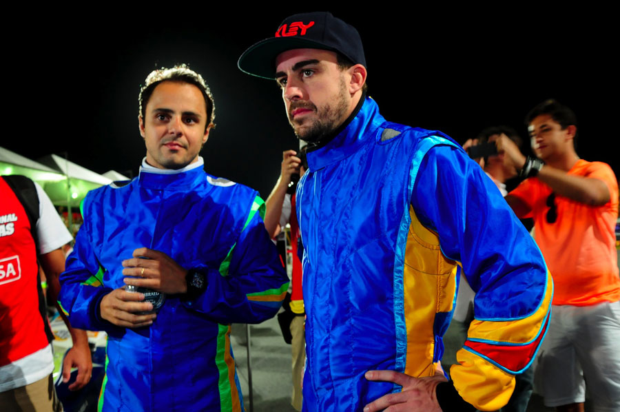 Fernando Alonso with Felipe Massa at his karting challenge