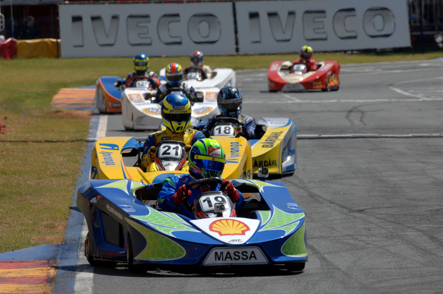 Felipe Massa leads a group of karts during his karting challenge