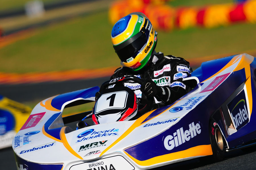 Bruno Senna on track during Felipe Massa's karting challenge