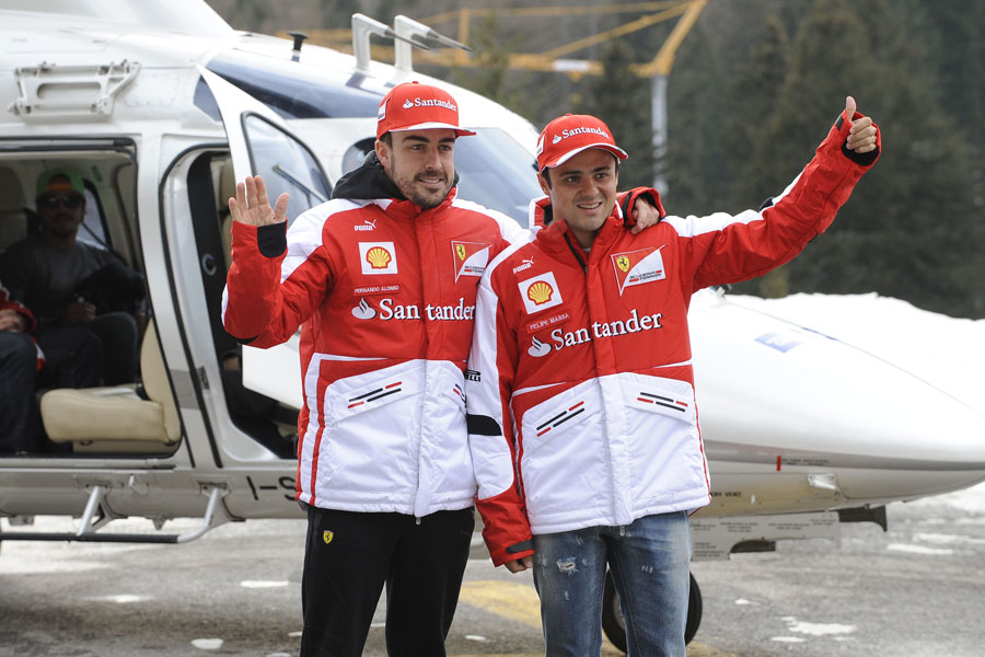 Fernando Alonso and Felipe Massa pose at Ferrari's Wrooom event