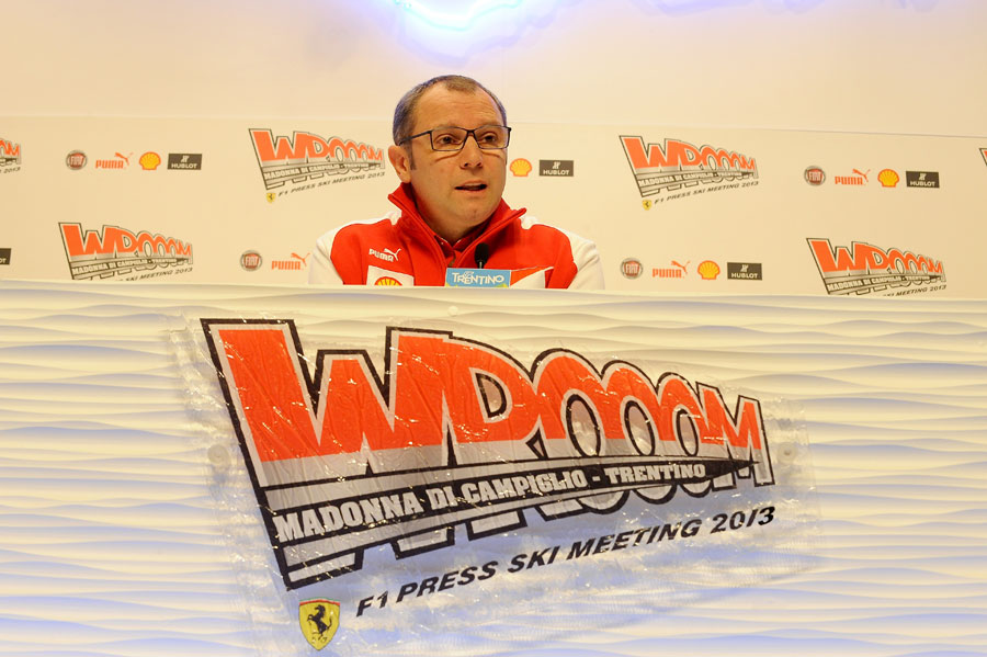 Stefano Domenicali faces the media at Ferrari's Wrooom event