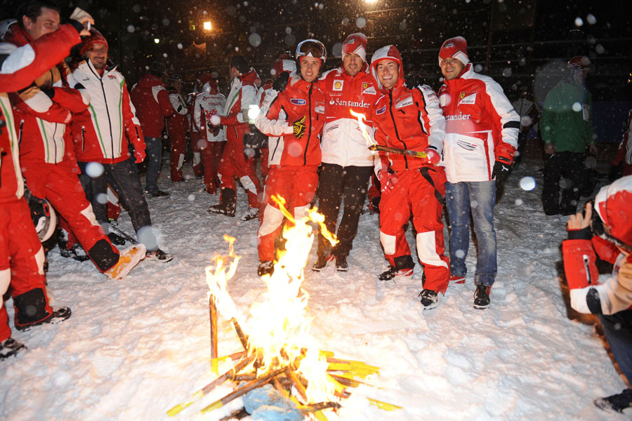 Andrea Dovizioso, Fernando Alonso, Nicky Hayden and Felipe Massa in the snow