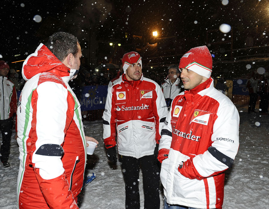 Fernando Alonso looks unamused by the snow