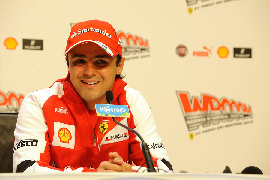 Felipe Massa looks relaxed as he answers questions from the media