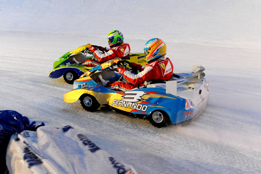 Felipe Massa leads Fernando Alonso during the Ferrari ice race