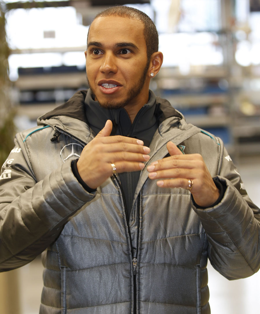 Lewis Hamilton at a Mercedes media day
