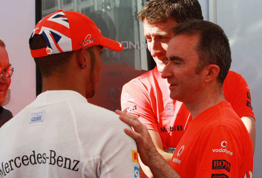 Lewis Hamilton celebrates his victory with Paddy Lowe