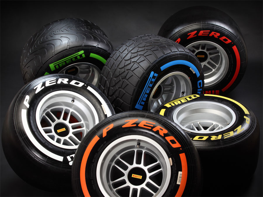 The 2013 range of Pirelli F1 tyres