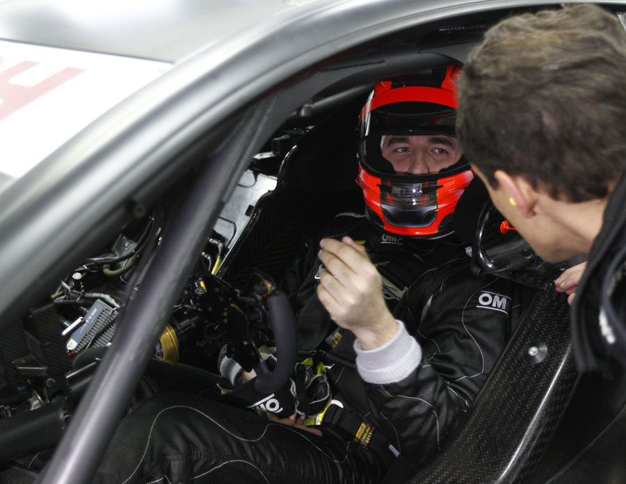 Robert Kubica in the cockpit of a Mercedes DTM car ahead of his first test