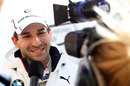 Timo Glock conducts an interview during his first test with BMW in DTM