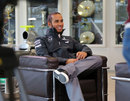 Lewis Hamilton conducts an interview at the Mercedes factory