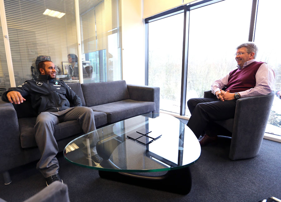 Lewis Hamilton chats with Ross Brawn in the Mercedes factory