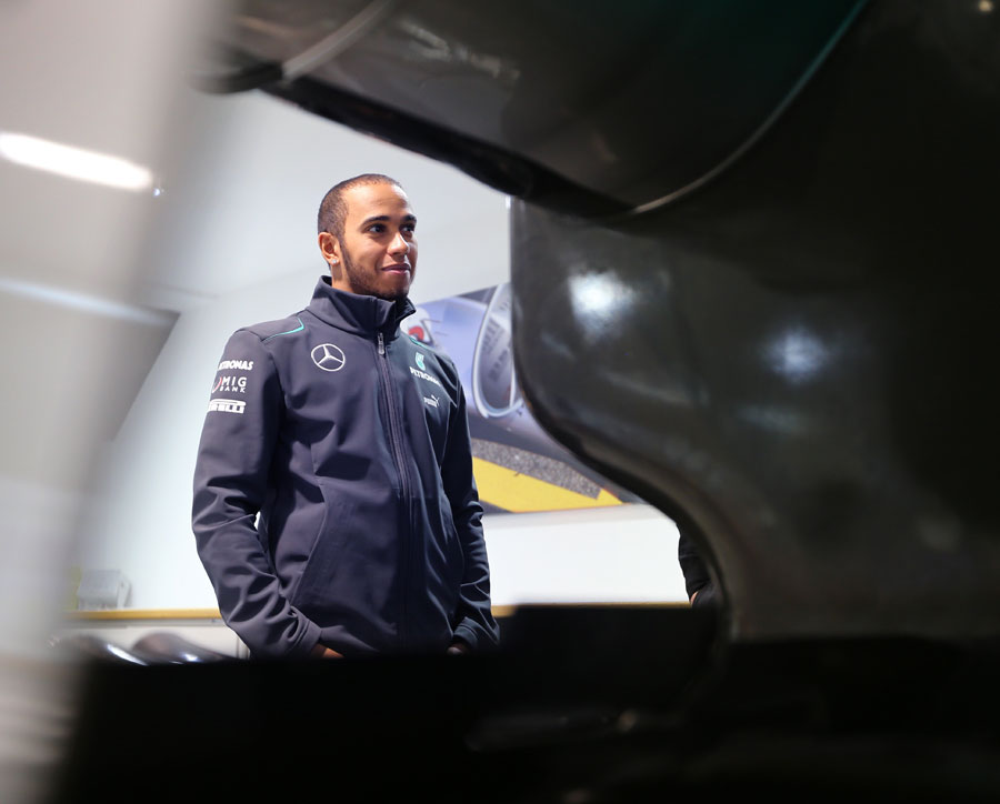 Lewis Hamilton at the Mercedes factory