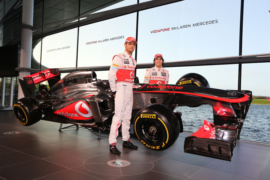Jenson Button and Sergio Perez with the new MP4-28