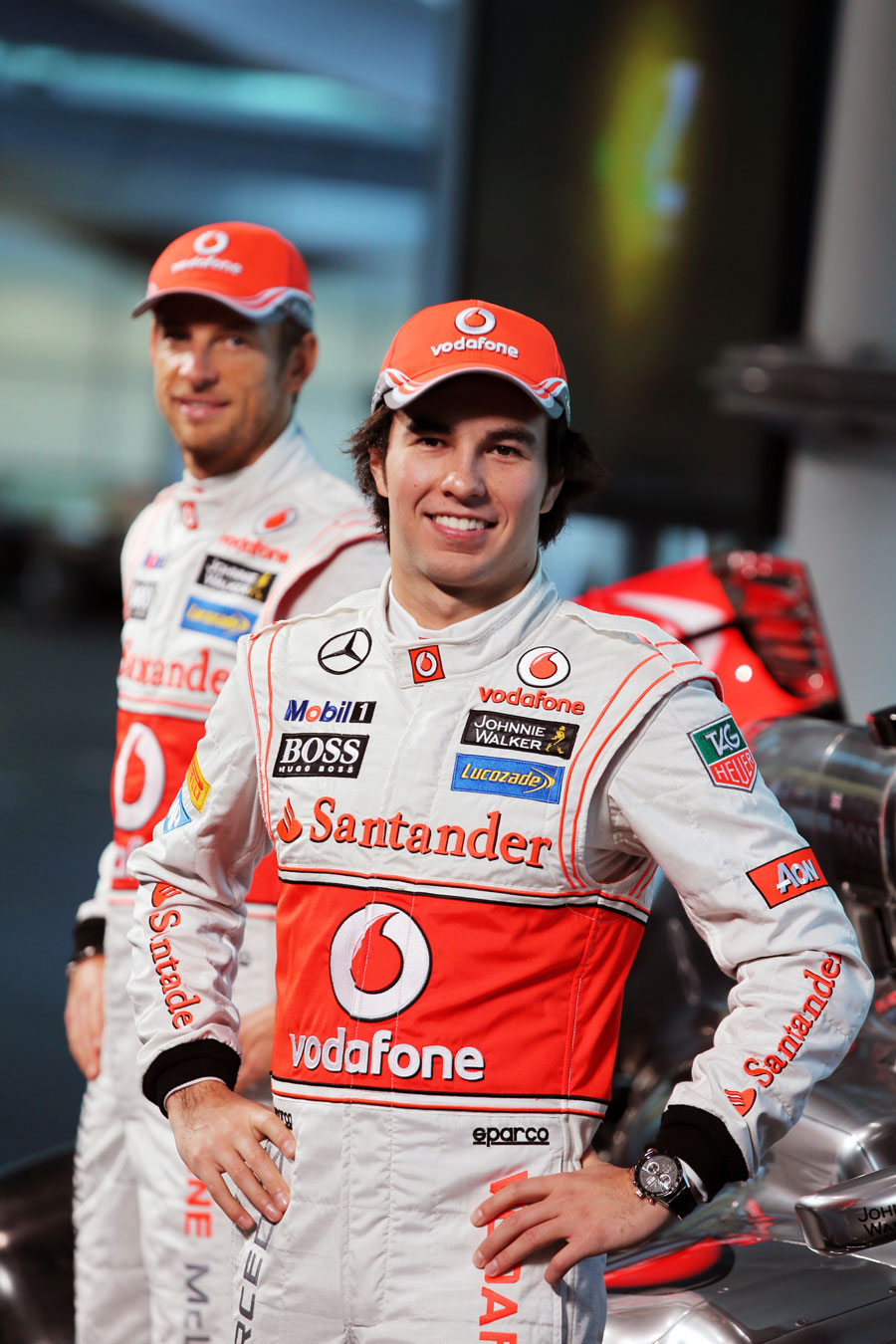 Sergio Perez and Jenson Button at the launch of the new MP4-28