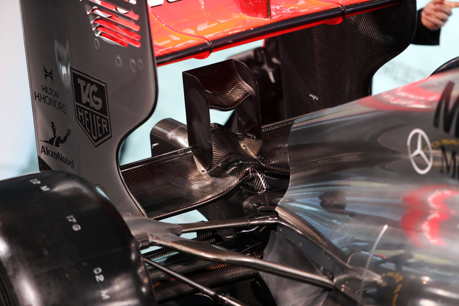 Rear detail on the new McLaren MP4-28
