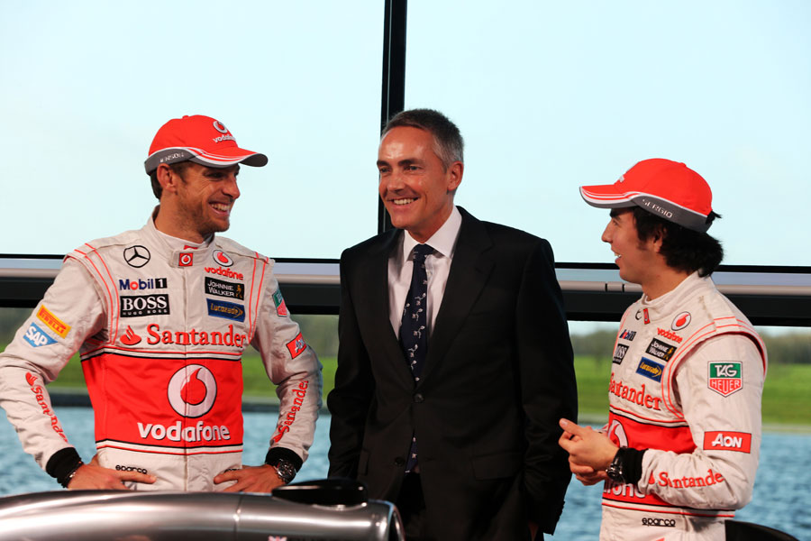 Jenson Button, Martin Whitmarsh and Sergio Perez at the launch of the McLaren MP4-28