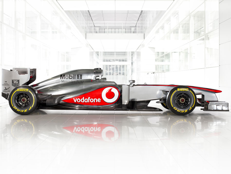 The new McLaren MP4-28 on show at the team's factory