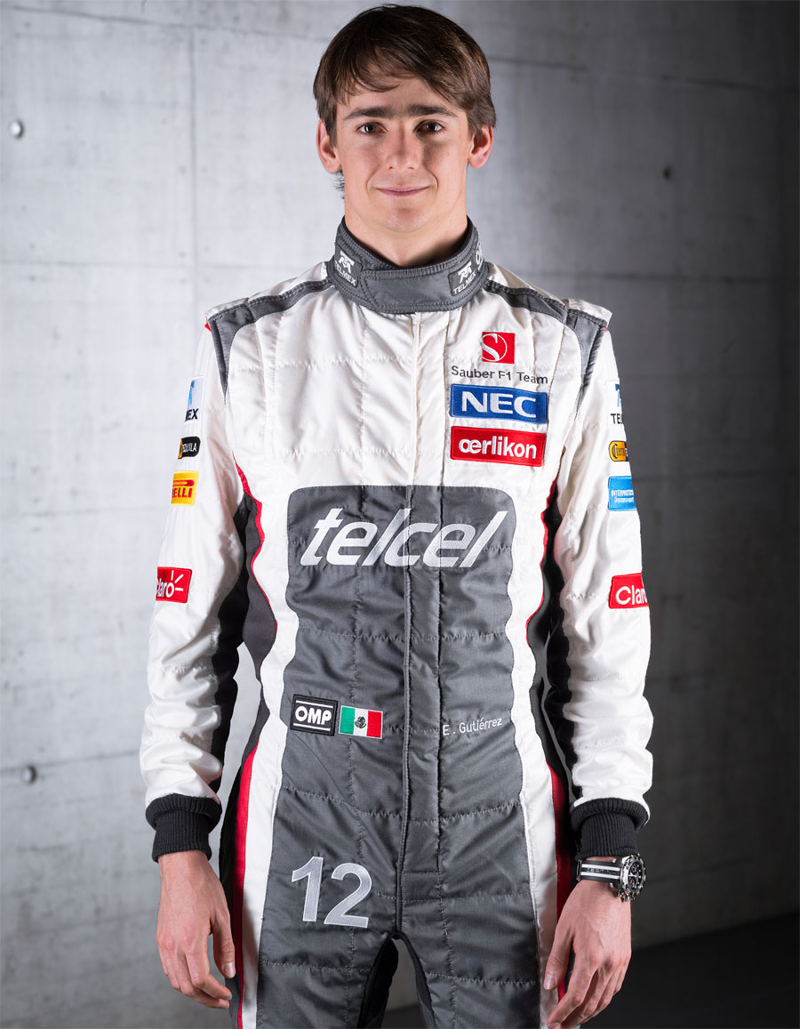 Esteban Gutierrez poses for a photo in his new Sauber overalls