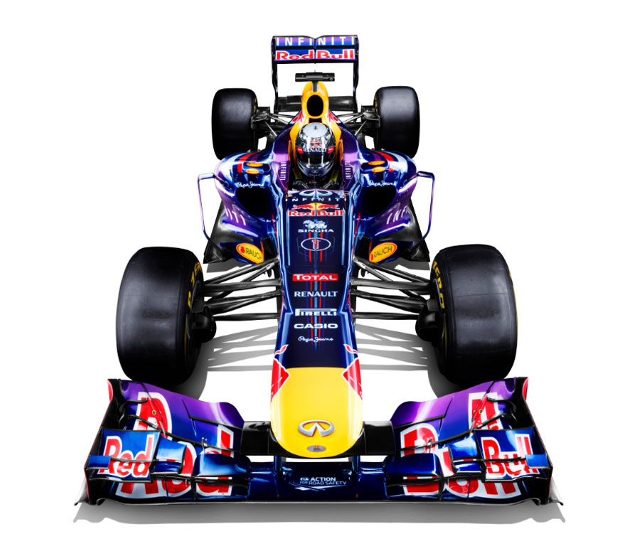 An image of the new Red Bull RB9 with Sebastian Vettel in the cockpit