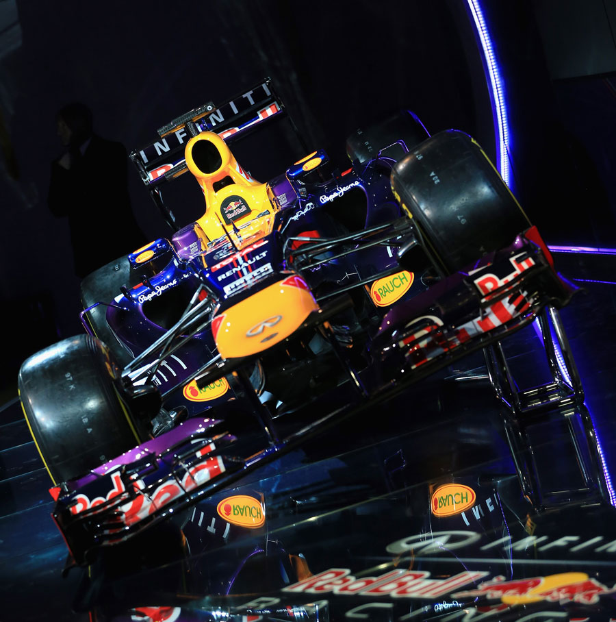 The Red Bull RB9 on display at the team's factory